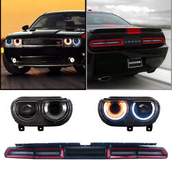 2 Sets For 2008-2014 Dodge Challenger Led Headlights And Red Tail Lights Assembly