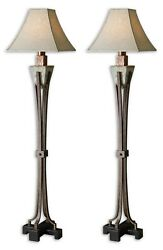 Two Santa Fe 66 Carved Stone Slate Floor Lamps Hammered Metal Accents Uttermost