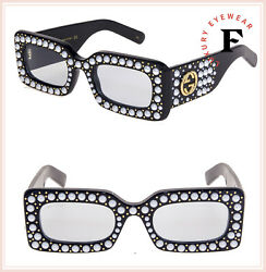 GUCCI HOLLYWOOD FOREVER 0146 Black Pearl Stud Light Blue Sunglasses GG0146S