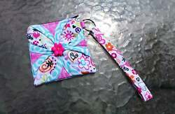 keychain lanyard wallet hearts flowers money id card holder gift for girls