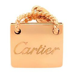 CARTIER CHARM PENDANT 18K Rose Gold Shopping Bag - Designer Estate Jewelry