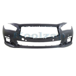 For 14-17 Q50 W/sport Front Bumper Cover Assembly Primed W/ Object Sensor Holes