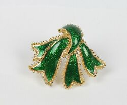 Vintage David Webb 18K Gold and Green Enamel Ribbon Brooch