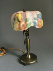 Antique Pairpoint Butterflies Floral Reverse Painted Puffy Table Boudoir Lamp