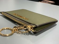 Michael Kors Coin Pouch Wallet Card ID Case with Key Chain Holder DuffleOlive
