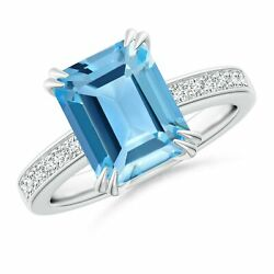 4.17ctw Octagonal Swiss Blue Topaz Cocktail Ring With Diamonds In Gold/platinum