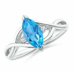 Criss-cross Marquise Swiss Blue Topaz Solitaire Ring In 14k Gold/platinum