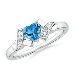 Solitaire Swiss Blue Topaz Heart Ring With Diamond Accents In Gold/platinum