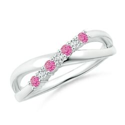 0.22ctw Round Pink Sapphire And Diamond Crossover Ring In 14k Gold/platinum