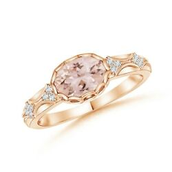 0.76ctw Oval Morganite Vintage Style Ring With Diamond Accents In Gold/platinum