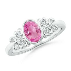 Vintage Style Bezel-set Oval Pink Sapphire Ring With Diamonds In Gold/platinum
