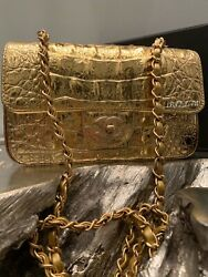 NWT CHANEL 19A GOLD COCODILE Small Classic Double Flap Bag 2019 CROC EMBOSSED
