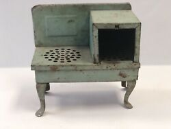 Antique Vintage Metal Toy Miniature Dollhouse Kitchen Stove Teal Weathered