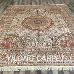 YILONG 9'x12' Handknotted Silk Persian Carpet Living Room Quality Rug LH171A