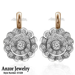 Russian Vintage European Style Diamond Earrings 14k Rose And White Gold 585