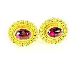 And Co. Pink Tourmaline 18k Gold Oval Post Earrings