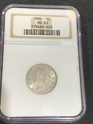 1886 5c Liberty Head V Nickel Ms-63 1886 Ngc Certified - Mint State-