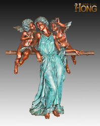 Art Deco Sculpture Happiness Mother and Two Son Boy Cherub Angel Bronze Statue