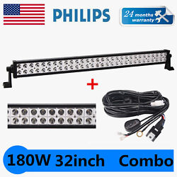 180w 32inch Philips Led Light Bar Spot Flood Combo Tractor 4wd Offroad W/ Wires