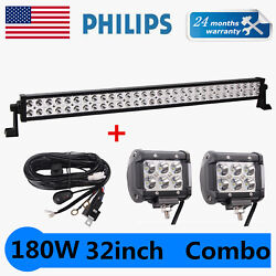 180w 32inch Philips Led Light Bar Tractor 4wd Offroad Suv W/ 18w Pods Wires Kit