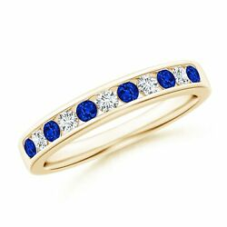 0.53ctw Channel Set Sapphire And Diamond Semi Eternity Band In 14k Gold/platinum