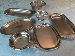 Lot Of 7 Vintage Silver Plate Trays, Revere Bowls, Wm. Rogers, Reed And Barton.