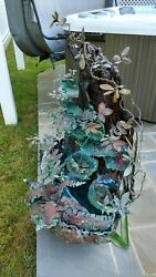 Unique Designer Copper and Wood Leaf & Flower water feature (Local pickup only)