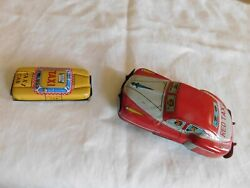 Lot Of 2 Both Cars Japan Tin Toy Red And Yellow Taxi Buick Metal Wheels Nice