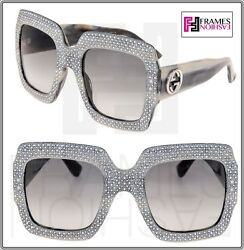 GUCCI RHINESTONE 0048 Grey Horn Crystal Oversized Square Sunglasses GG0048S 3861