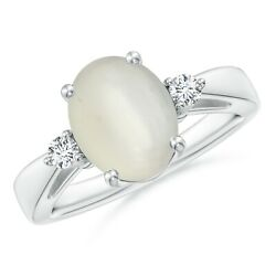 Best Aaa Moonstone Solitaire Ring With Diamond Accents In Silver/gold Size 3-13