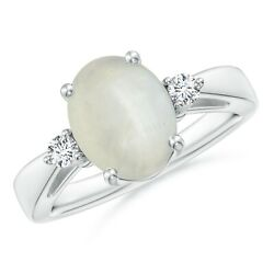 10x8mm Moonstone Solitaire Ring With Diamond Accents For Women In Silver/gold
