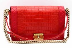 Brand New!!! Chanel Reverso Boy Flap Bag Alligator and Calfskin Medium