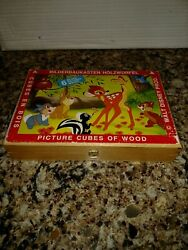 Vintage Disney Picture Cubes Of Wood Made In Germany 6 Images In Case Bambi