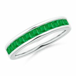 0.77cttw Channel Set Square Emerald Half Eternity Band In 14k Gold/platinum