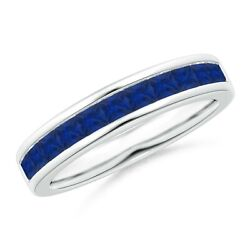 0.88cttw Channel Set Square Sapphire Half Eternity Band In 14k Gold/platinum