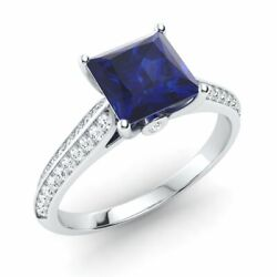 Princess-cut Natural Blue Sapphire And Diamond Engagement Ring In 14k White Gold