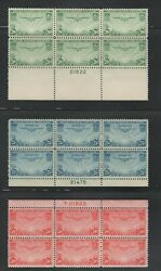 (543) MNH set of Trans-Pacific Plate Blocks, C20-22, Free Shipping
