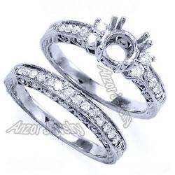 Pave Setting .75 Ct Diamond Engagement Ring And Wedding Bridal Set 4 To 9.5 R1169