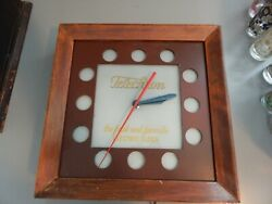 Telechron Advertising Wall Clock Wooden 1940s Wwii Vintage
