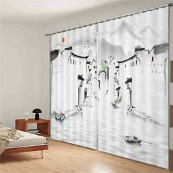 Gray Wall Houses Ships 3d Curtain Blockout Photo Printing Curtains Drape Fabric
