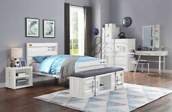 Acme Furniture Cargo 5 Piece Metal White Youth Twin Bed Set