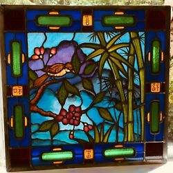 Leaded Stained Glass Art Custom Made Repro Of Asian Painting 24x24