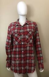 Amiri Stars Embellished Checked Flannel Button Down Red Shirt Size Samll