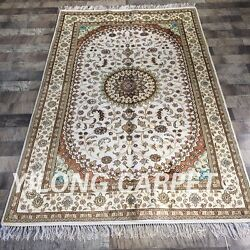 Yilong 4'x6' Handknotted Silk Area Rug Traditional Floor Decor Carpet Zw234c