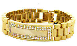 18k Gold Brass Rollie Id Tag Watch Link Urban Street Hip Hop Rappers Jewelry 006