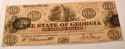 1862 The State Of Georgia  100 Dollar Note Bill