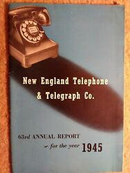 Vintage 1945 New England Telephone And Telegraph Co 63rd Annual Report
