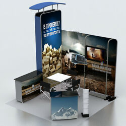 10ft Portable Trade Show Display Pop Up Booth Kits With Counter Tv Stand Lights