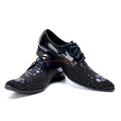 Stylish Mens Genuine Leather Lace Up Oxford Formal Nightclub Party Dress Shoes #