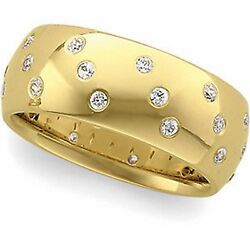 14 Kt Yellow Gold And Gypsy Set White Diamond Thick Wide Cigar Band Ring...new